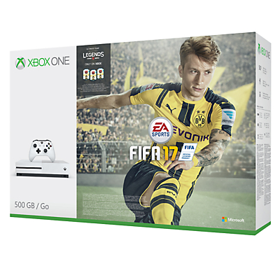 Microsoft Xbox One S Console, 500GB, with FIFA 17 Game Download