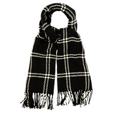 Buy Oasis Stitched Grid Check Scarf, Black/White Online at johnlewis.com