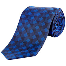 Buy Jaeger Geometric Silk Tie, Blue Online at johnlewis.com