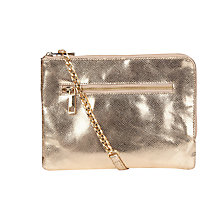 Buy Oasis Bonnie Leather Clutch, Gold Online at johnlewis.com