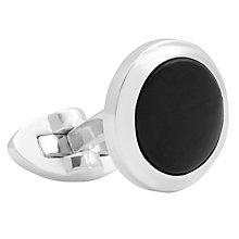 Buy Thomas Pink Onyx Circle Cabochon Cufflinks, Silver/Black Online at johnlewis.com