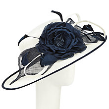 Buy John Lewis Aurora Bow Flower Occasion Hat, Cream/Navy Online at johnlewis.com