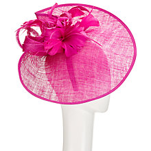 Buy John Lewis Carla Pinched Disc and Flower Occasion Hat, Fuchsia Online at johnlewis.com