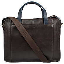 Buy Hidesign Campbell Briefcase, Brown/Navy Online at johnlewis.com
