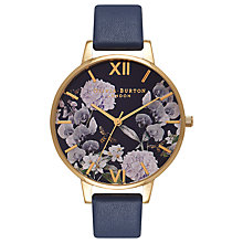 Buy Olivia Burton OB16EG55 Women's Enchanted Garden Leather Strap Watch, Navy Online at johnlewis.com