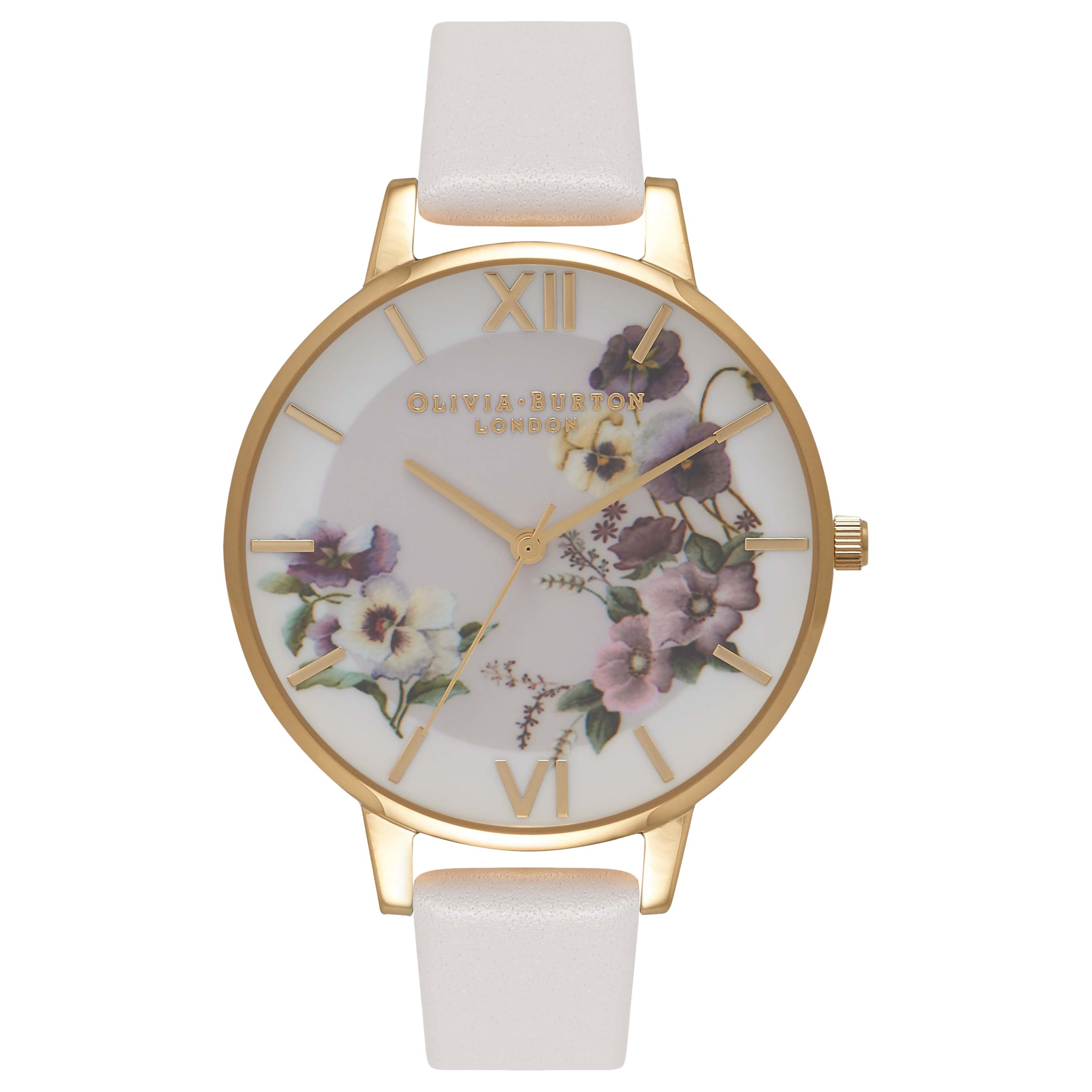 Olivia Burton Olivia Burton OB16FS86 Women's Florals Embroidery Pansy Leather Strap Watch, Blush
