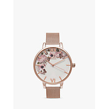 Buy Olivia Burton OB16WG18 Women's Winter Garden Mesh Bracelet Strap Watch, Rose Gold/White Online at johnlewis.com