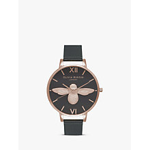 Buy Olivia Burton OB16AM98 Women's Animal Motifs Bee Leather Strap Watch, Black/Rose Gold Online at johnlewis.com