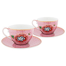 Buy PiP Studio Spring to Life Cup and Saucer, Set of 2, Pink Online at johnlewis.com