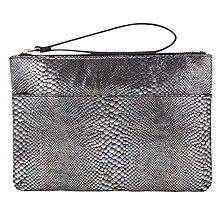Buy Miss Selfridge Iridescent Snake Clutch Bag, Pewter Online at johnlewis.com
