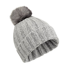 Buy Miss Selfridge Spacedye Faux Fur Pom Beanie Hat, Grey Online at johnlewis.com