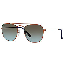 Buy Ray-Ban RB3557 Square Sunglasses, Bordeaux/Blue Gradient Online at johnlewis.com
