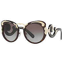 Buy Prada PR 07TS Structured Round Sunglasses, Tortoise/Grey Gradient Online at johnlewis.com