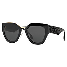 Buy Prada PR 10TS Embellished Geometric Sunglasses, Black Online at johnlewis.com
