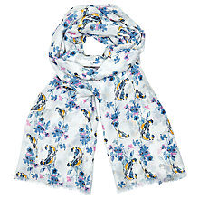 Buy John Lewis Colourful Bird On Branch Print Scarf, White/Blue Mix Online at johnlewis.com