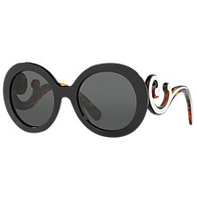 Buy Prada PR 08TS Minimal Baroque Round Sunglasses, Black Online at johnlewis.com