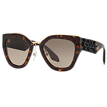 Buy Prada PR 10TS Embellished Geometric Sunglasses, Tortoise/Brown Gradient Online at johnlewis.com