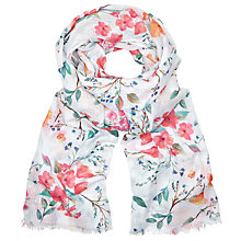 Buy John Lewis Country Floral Print Scarf, White Mix Online at johnlewis.com