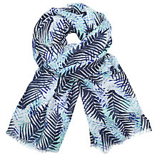 Buy John Lewis Jungle Leaves Print Scarf, Navy/Mint Online at johnlewis.com