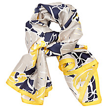 Buy John Lewis Silk Tropical Cut Out Square Scarf, Navy/Multi Online at johnlewis.com