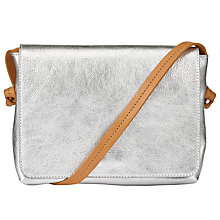 Buy John Lewis Morgan Leather Across Body Bag, Silver Online at johnlewis.com