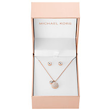 Buy Michael Kors Pendant Necklace and Stud Earrings Gift Set, Rose Gold Online at johnlewis.com