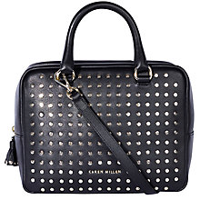 Buy Karen Millen Large Leather Stud Bowling Bag, Black Online at johnlewis.com