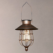 Buy John Lewis Solar LED Hanging Outdoor Steel Lantern, Copper Online at johnlewis.com