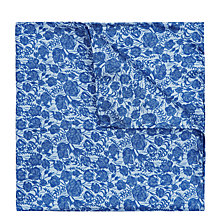 Buy Jaeger Floral Silk Pocket Square, Blue Online at johnlewis.com