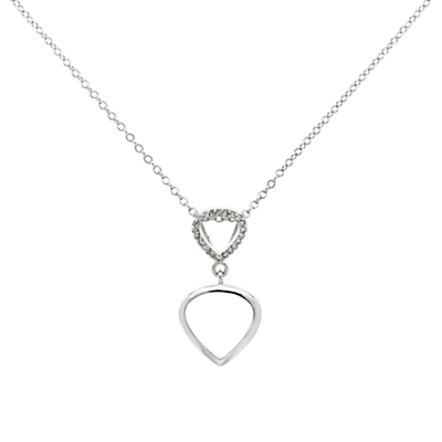 Finesse Cubic Zirconia Double Teardrop Pendant Necklace, Silver