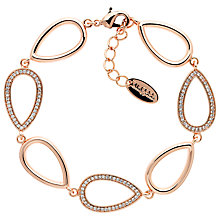 Buy Finesse Cubic Zirconia OpenTeardrop Bracelet, Rose Gold Online at johnlewis.com