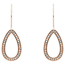 Buy Finesse Cubic Zirconia Open Teardrop Hook Drop Earrings, Rose Gold Online at johnlewis.com