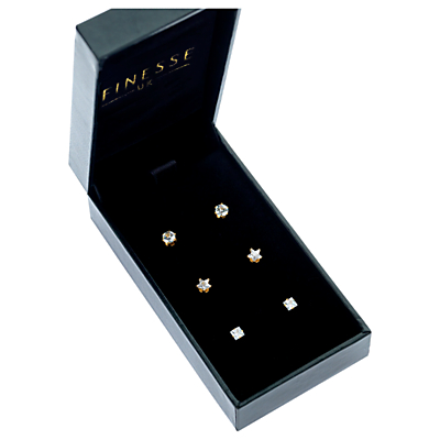Finesse Crystal Stud Earrings Jewellery Set, 3 Pairs, Silver