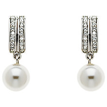 Buy Finesse Swarovski Crystal and Glass Pearl Drop Earrings, Silver/White Online at johnlewis.com