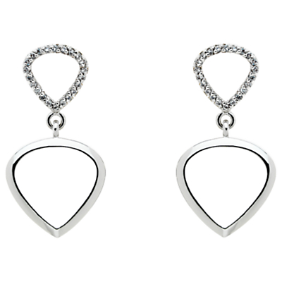 Finesse Cubic Zirconia Double Teardrop Drop Earrings, Silver