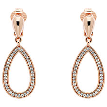 Buy Finesse Cubic Zirconia Open Teardrop Clip On Earrings, Rose Gold Online at johnlewis.com