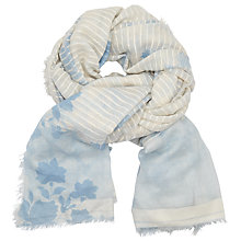 Buy John Lewis Textured Floral Jacquard Cotton Scarf, Pastel Blue/Ecru Online at johnlewis.com