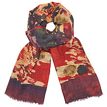 Buy John Lewis Abstract Floral Border Trim Scarf, Coral/Multi Online at johnlewis.com