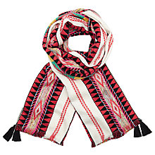 Buy John Lewis Aztec Textured Tassel Scarf, Multi Online at johnlewis.com