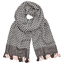 Buy AND/OR Flower Stamp Jacquard Scarf, Black Online at johnlewis.com