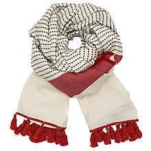 Buy John Lewis Textured Stitch Tassel Wrap, Ecru/Multi Online at johnlewis.com
