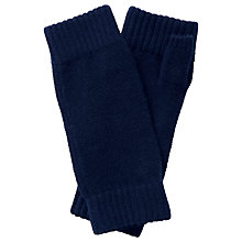 Buy Pure Collection Ingham Cashmere Textured Mittens, Navy Online at johnlewis.com