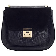 Buy Jacques Vert Lock Saddle Shoulder Bag, Black Online at johnlewis.com