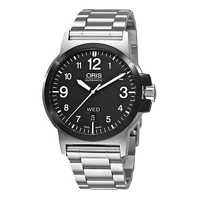 Oris 01 735 7641 4364-07 8 22 03 Men's BC3 Advanced Day Date Bracelet Strap Watch, Silver/Black