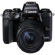 "Buy Canon EOS M5 Compact System Camera with EF-M 18-150mm IS STM lens, HD 1080p, 24.2MP, Wi-Fi, Bluetooth, NFC, 3.2"" LCD Tiltable Touch Screen Online at johnlewis.com"