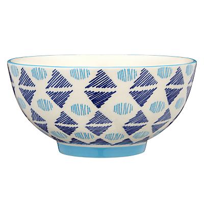 Image of Pols Potten Dakara Triangles 14cm Bowl, Blue