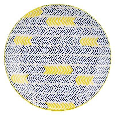 Image of Pols Potten Dakara Chevron 20cm Plate, Blue / Yellow