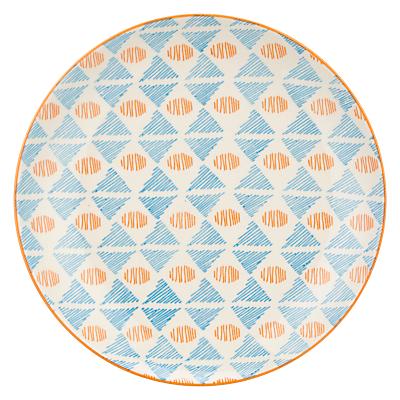 Image of Pols Potten Dakara Triangle 20cm Plate, Blue / Orange