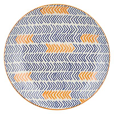 Image of Pols Potten Dakara Chevron 20cm Plate, Blue / Orange