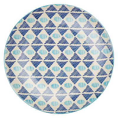Image of Pols Potten Dakara 20cm Plate, Triangle Blues
